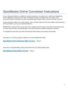 QuickBooks Online Conversion  Instructions